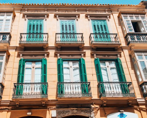 balconies green frames valencia spain