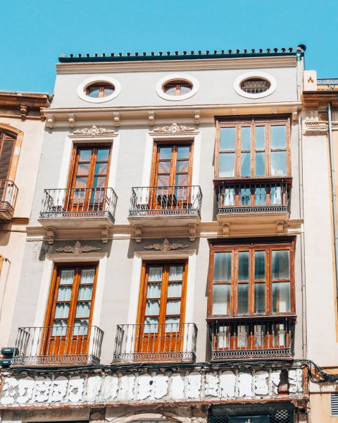 balconies wooden frames valencia spain