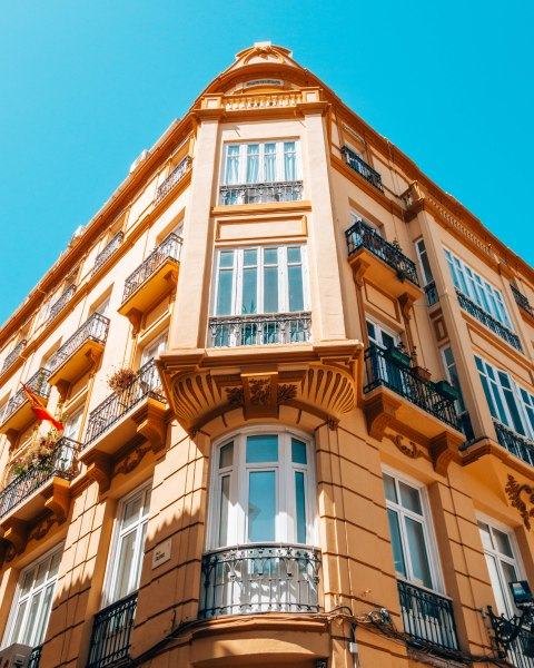 beautiful building orange malaga spain