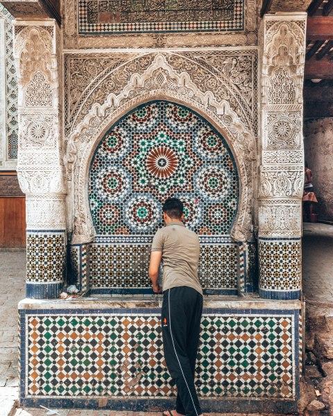 Beautiful mosaic fountain zellige fez morocco