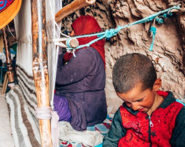 Nomad tribe berber child and mother