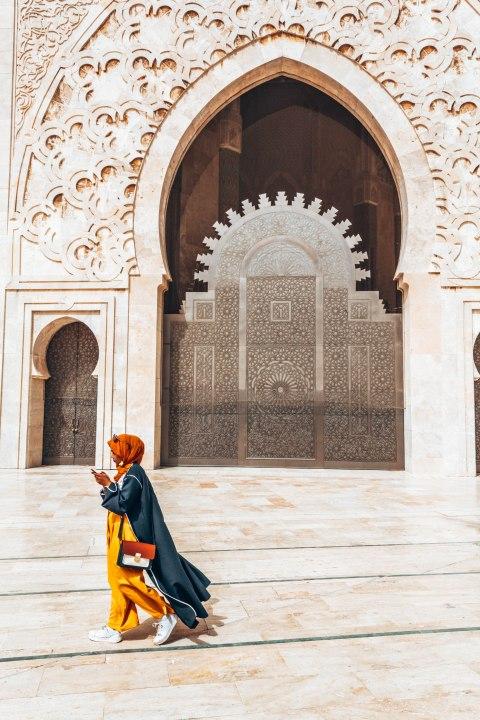 Hassan 2 mosque door casablanca morocco girl on phone