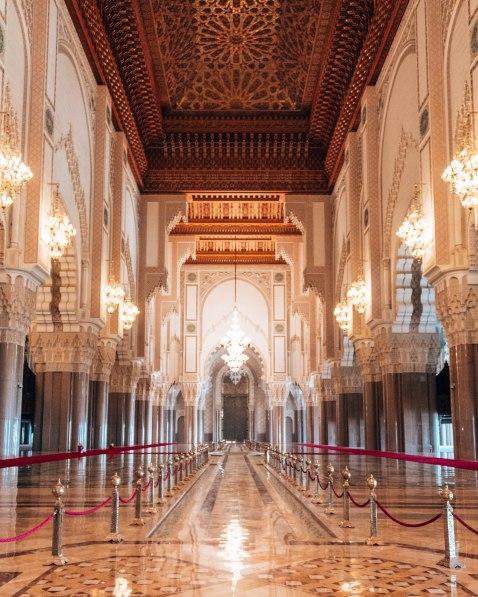 The main prayer room in Hassan II Mosque, Casablanca