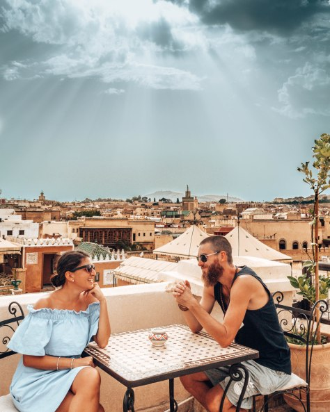 Relaxing on the rooftop terrace of Yamanda Riad in Fes