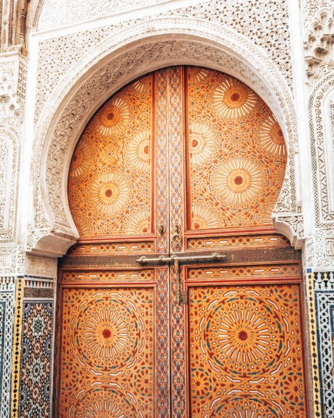 Intricate details on a door Fez Morocco