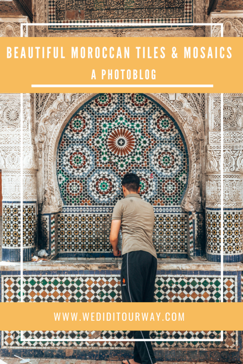 Beautiful Moroccan tiles & mosaics. See all the different kinds of patterns that make Morocco beautiful to explore. www.wediditourway.com