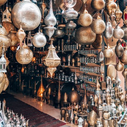 Marrakech souk copper lanterns