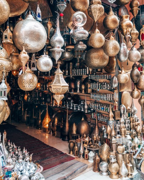Marrakech market Souk copper goods Morocco