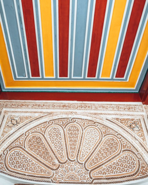 Marrakech morocco bahia palace mosaic carving ceiling