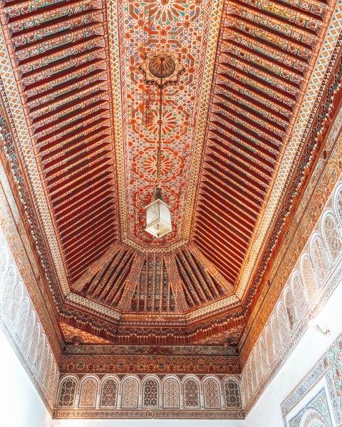 Marrakech morocco bahia palace mosaic ceiling
