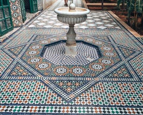 Marrakech morocco bahia palace mosaic fountain