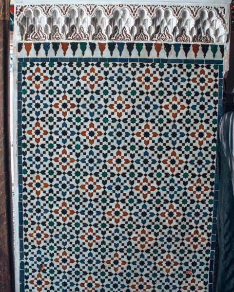 Marrakech morocco bahia palace mosaic pattern wall