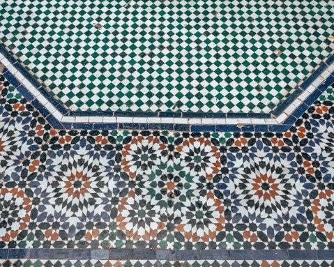 Marrakech morocco bahia palace mosaic pattern zellige