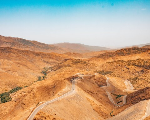 High Atlas mountains winding road