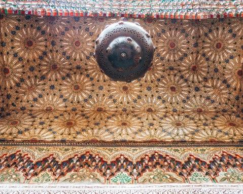 Yamanda fez riad lamp pattern details morocco