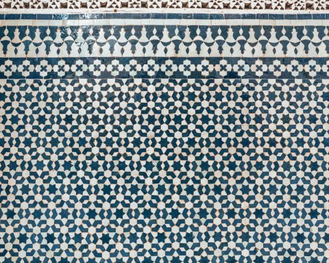 Yamanda Fez riad mosaic details blue white morocco