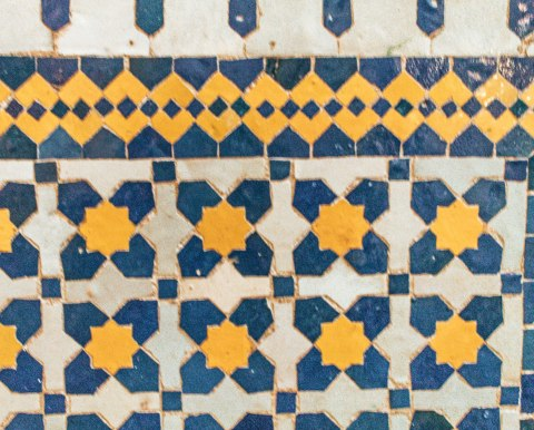 Yellow blue zellige Mosaic fez morocco
