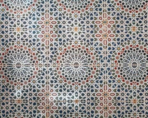 Zellige mosaic details floor fez morocco