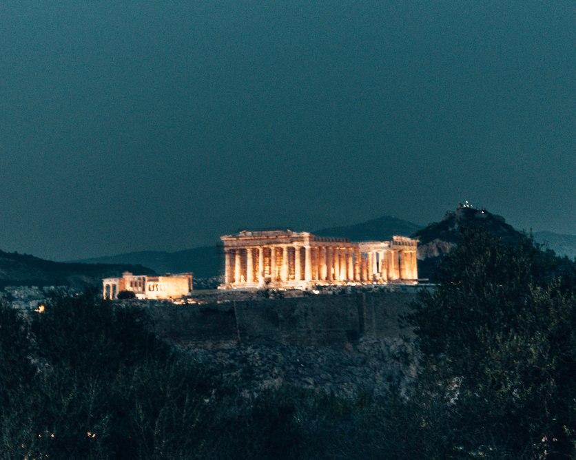 Acropolis at night Athens Greece