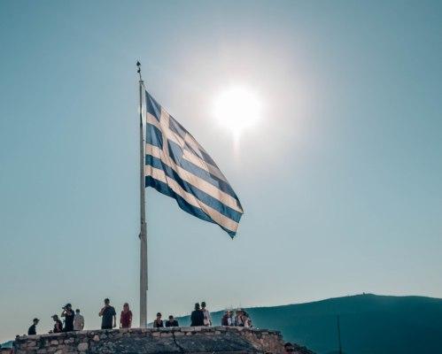 Acropolis Athens Greece flag