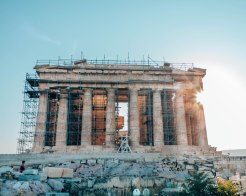 Acropolis Parthenon sun glare 2 Athens Greece