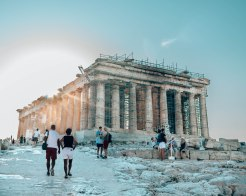 Acropolis Parthenon sun glare Athens Greece