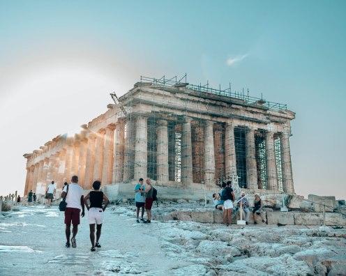 Acropolis Parthenon sun glare Athens Greece