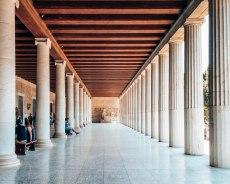 Ancient Agora of Athens columns entrance Greece