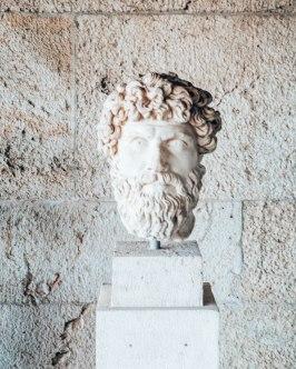 Ancient Agora of Athens face sculpture Greece