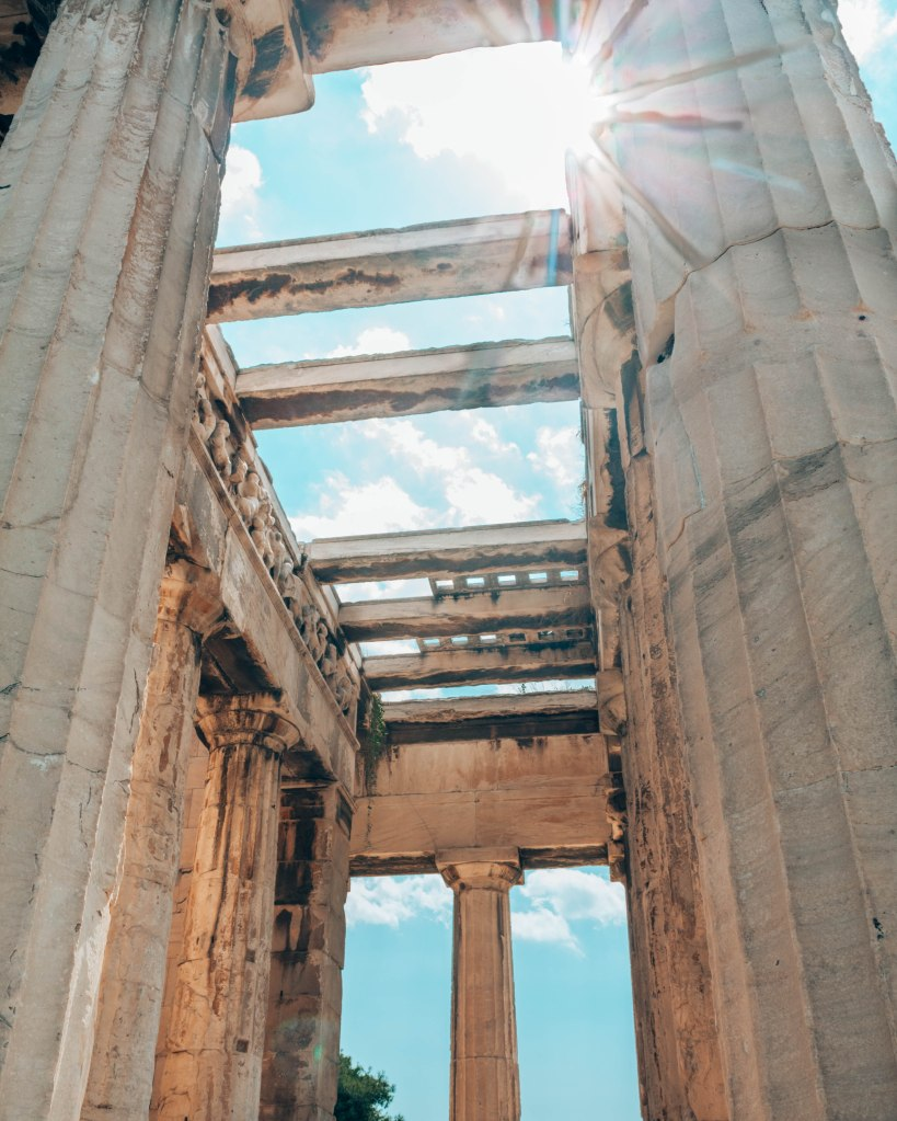 Ancient Agora of Athens temple of Hephaestus back entrance Greece
