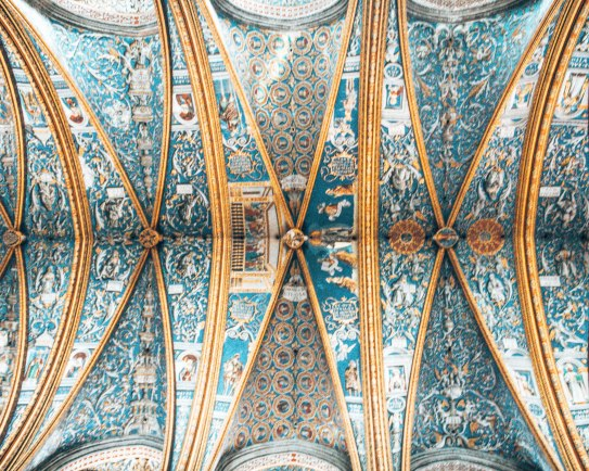Cathedral Basilica of Saint Cecilia ceiling blue Gers France