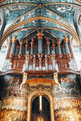 Cathedral Basilica of Saint Cecilia organ close up Gers France