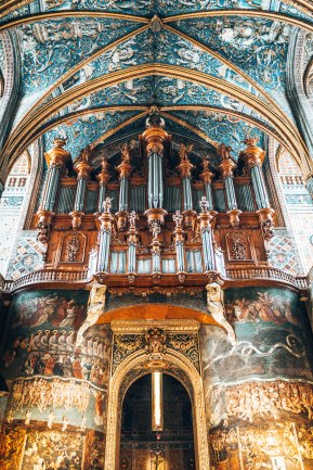 Cathedral Basilica of Saint Cecilia organ close up Gers France
