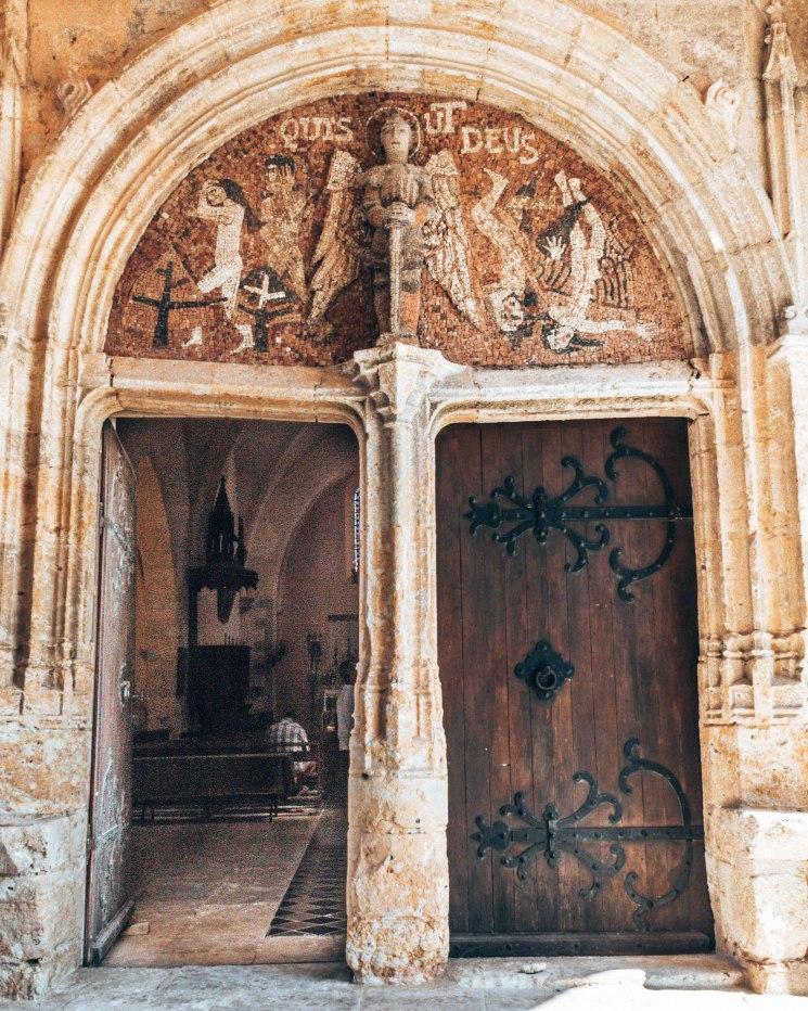 Chateau de Laverdens church entrance France