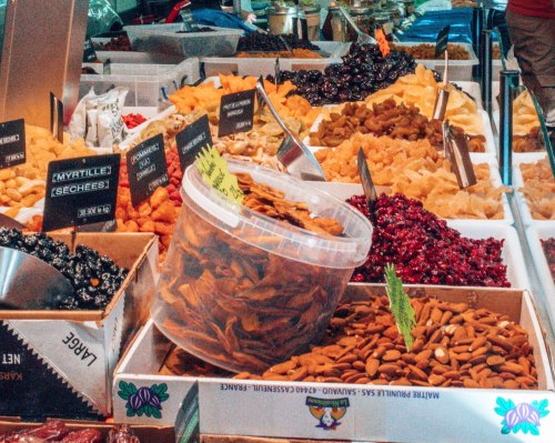 Dried fruits at the market in Eauze France