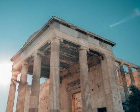 Erechteion sun glare Acropolis Athens Greece