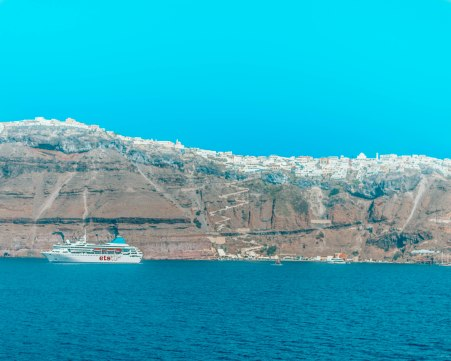 Fira from the ferry Santorini Greece