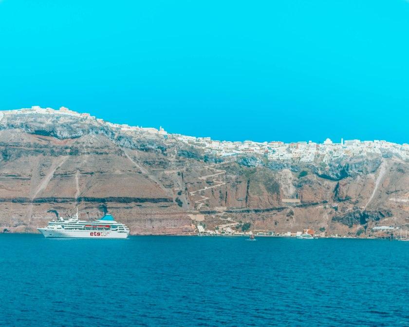 Fira from the ferry Santorini Greece
