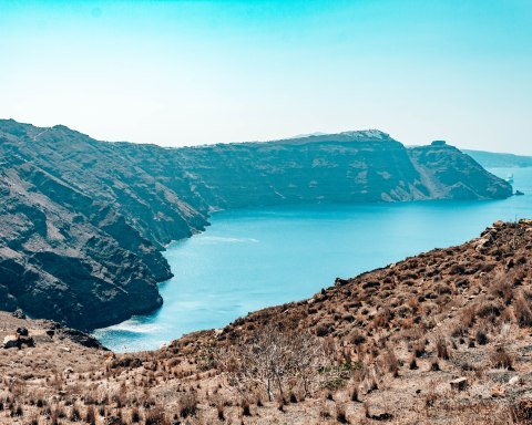 Hike from Fira to Oia cliffside Santorini Greece