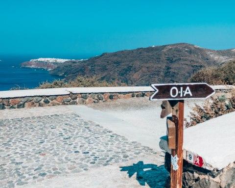 Hike from Fira to Oia Oia sign Santorini Greece