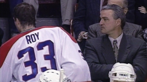 Mario Tremblay staring down Patrick Roy