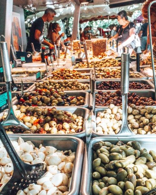 Olives at the market in Eauze France