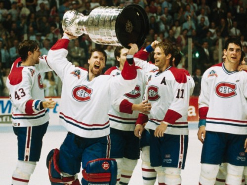 Patrick Roy hoisting Lord Stanley