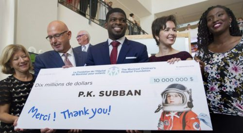 PK Subban Montreal Children's hospital donation
