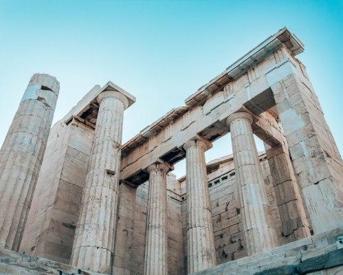 Propylaea gate to the Acropolis Athens Greece