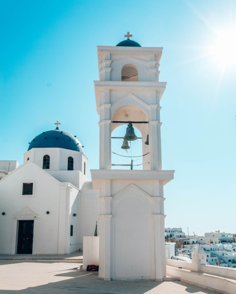 Santorini Fira church blue roof Greece