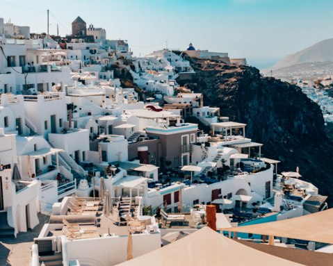 Santorini Fira white buildings from above Greece