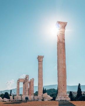 Temple of Olympian Zeus column sun glare Athens Greece