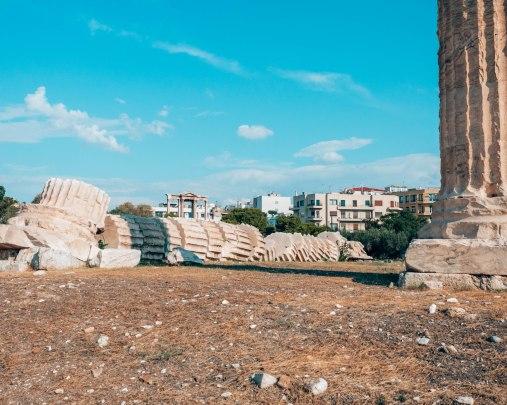 Temple of Olympian Zeus fallen column Athens Greece