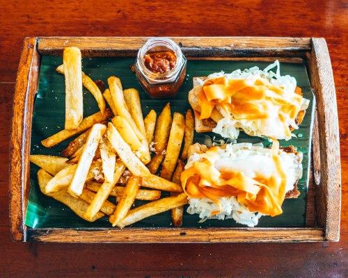 Vegan burger and fries at Shaka Burger Bohol Philippines